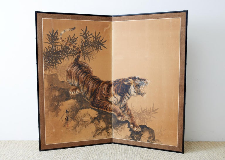 Japanese Showa Two-Panel Screen Tiger and Bamboo 5