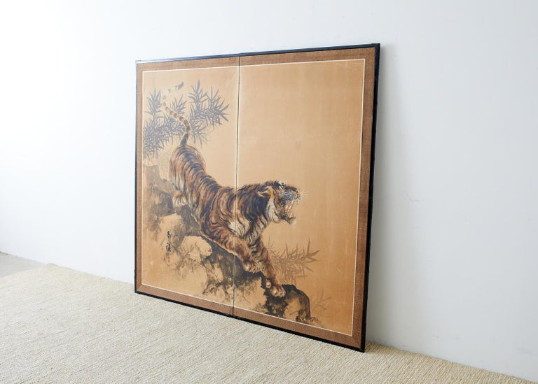 Japanese Showa Two-Panel Screen Tiger and Bamboo 6