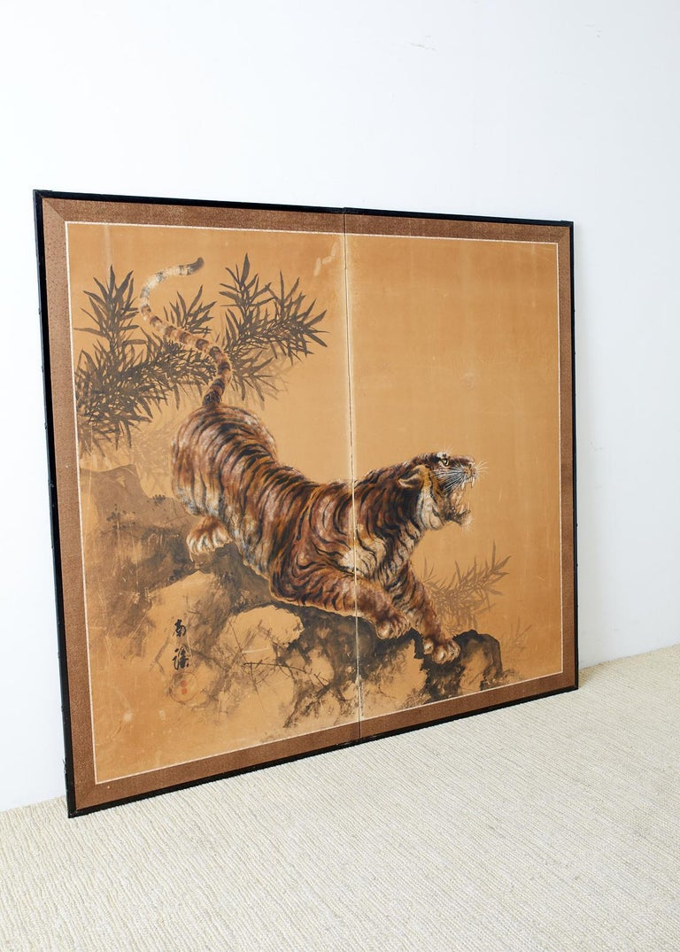 Japanese Showa Two-Panel Screen Tiger and Bamboo 7