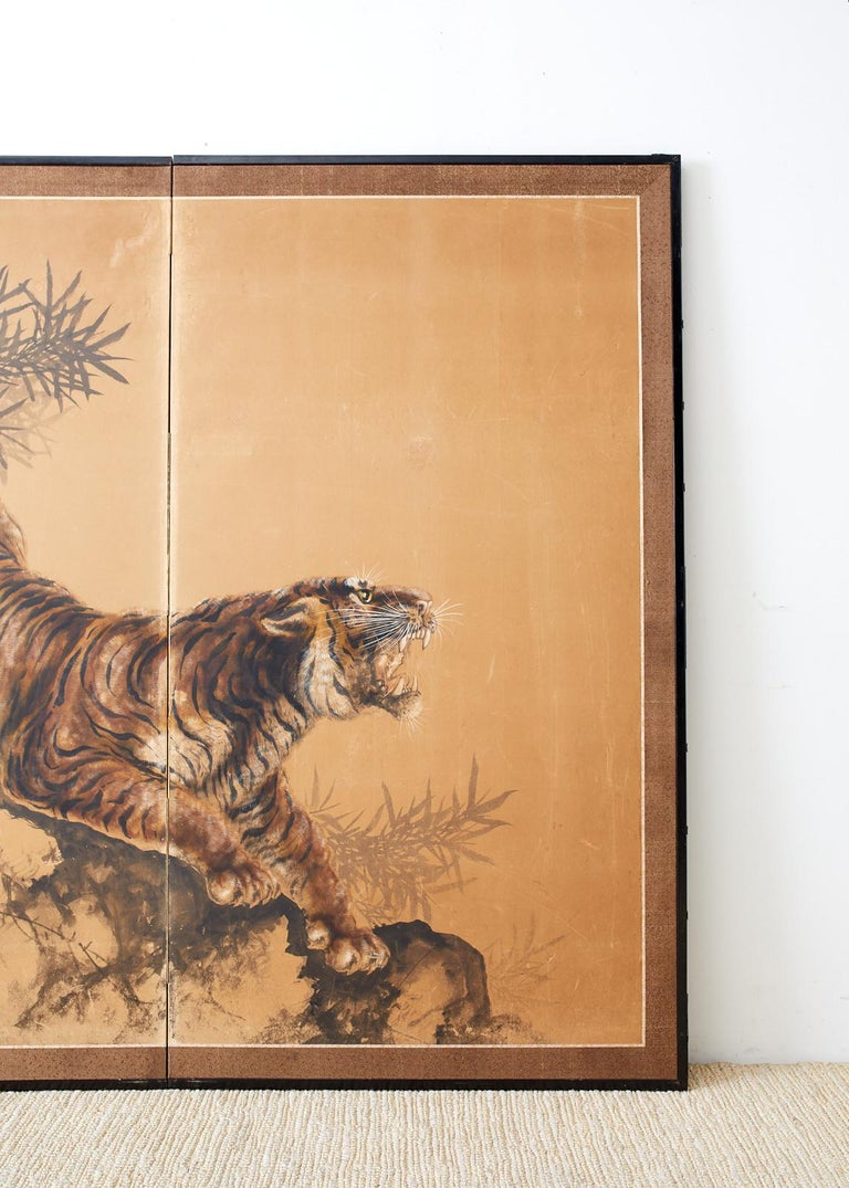 Hand-Crafted Japanese Showa Two-Panel Screen Tiger and Bamboo