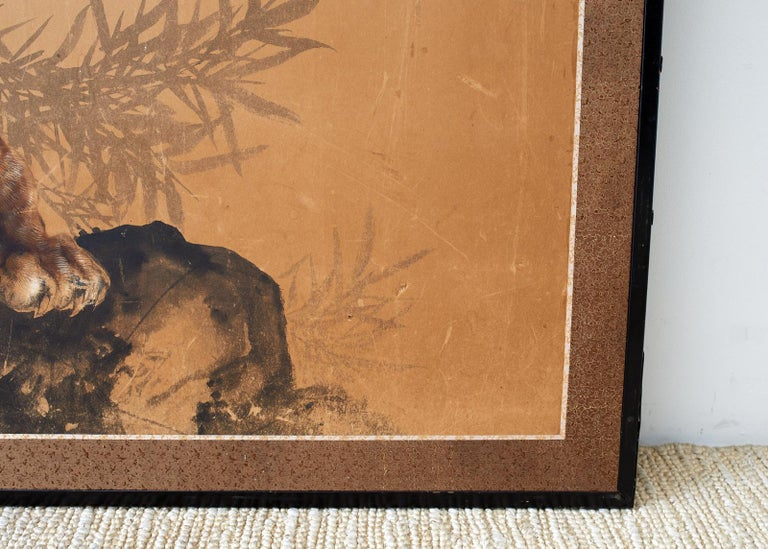 20th Century Japanese Showa Two-Panel Screen Tiger and Bamboo