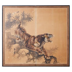 Japanese Showa Two-Panel Screen Tiger and Bamboo