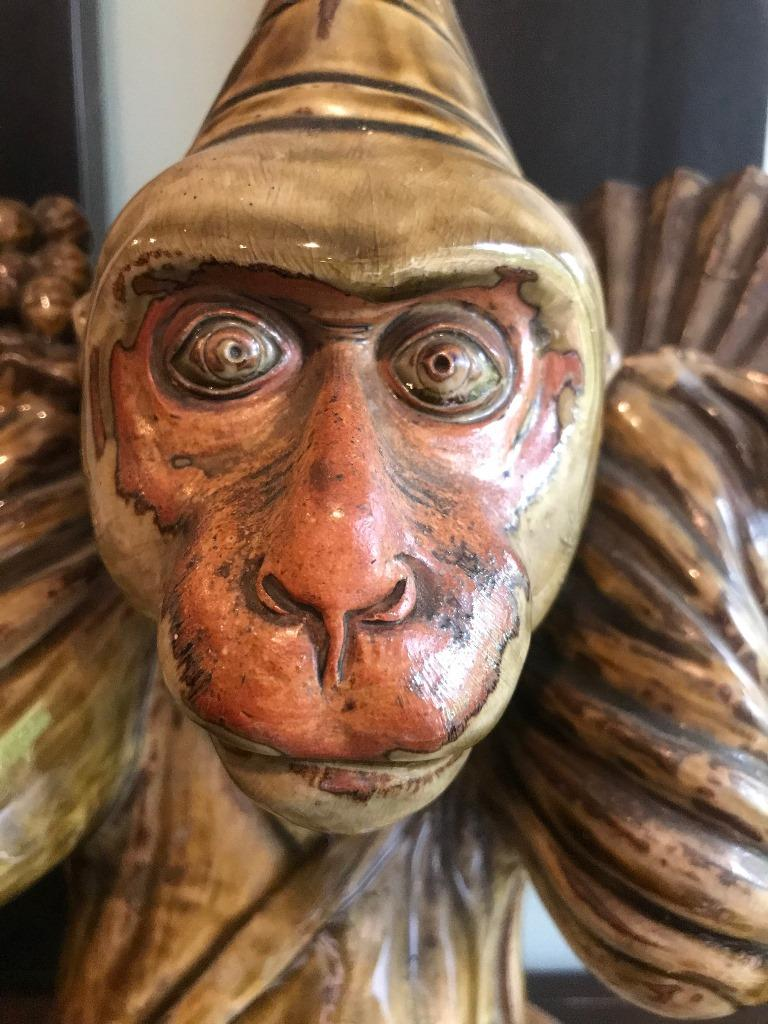 Showa Japanese Signed and Glazed Ceramic Pottery Monkey with Custom Wood Stand For Sale