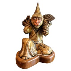 Japanese Signed and Glazed Ceramic Pottery Monkey with Custom Wood Stand