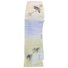 Japanese Signed Stamped Hand Drawn Silk Obi Sash Belt with Crow, Mid-1900s