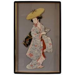 Japanese Silk Brocade Handcrafted Oshie Decorative Art