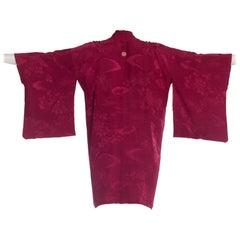 Japanese Silk Jacquard Kimono w/ Hand Woven Metallic Tie
