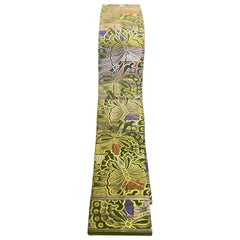 Japanese Silk Obi Sash Belt with Colorful Butterfly Nature Motif, Mid-1900s