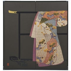Japanese Silk Two-Panel Folding Screen Brown Black Gilded