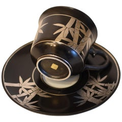 Silver Leaf Black Porcelain Cup and Saucer by Japanese Master Artist