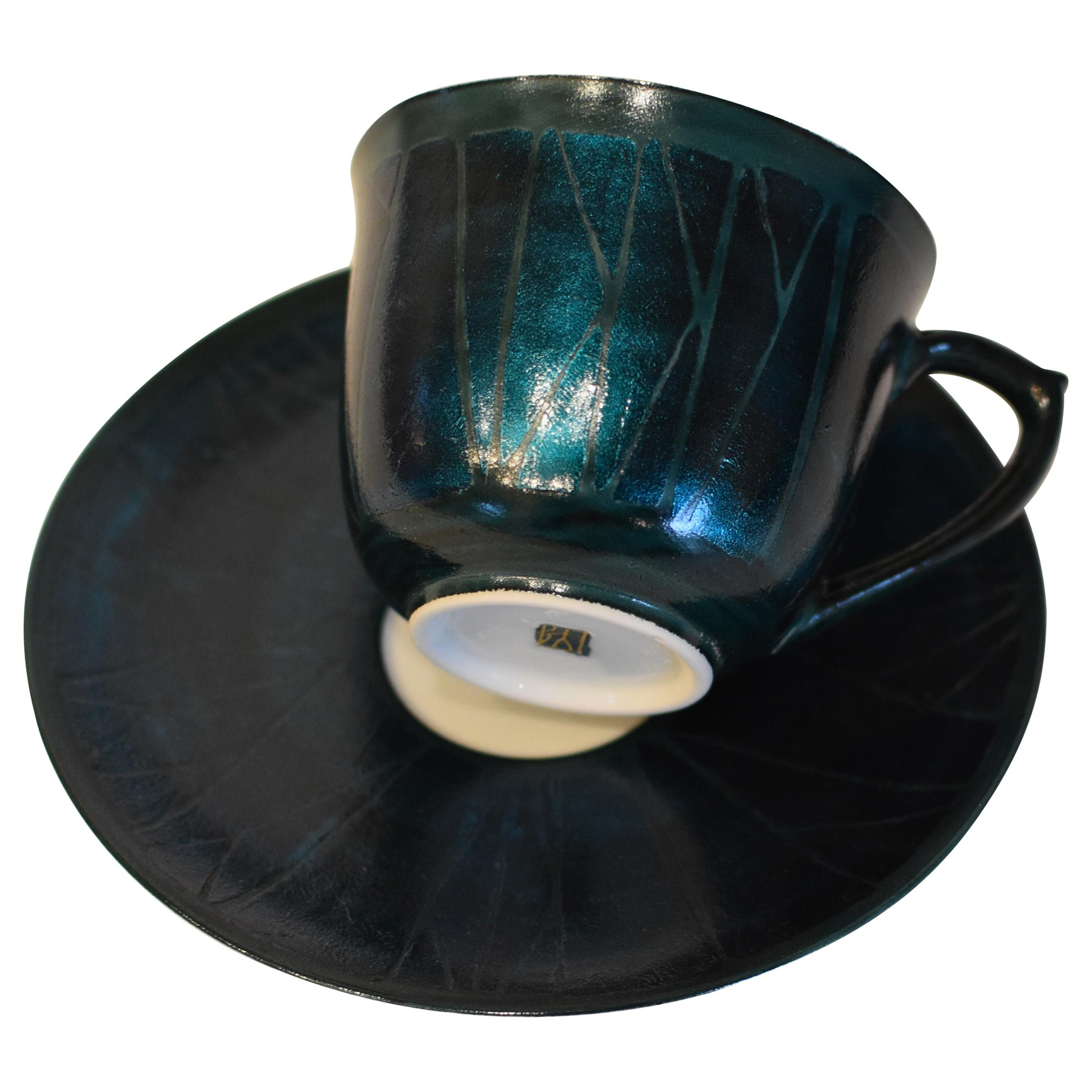 Japanese Silver Leaf Blue Porcelain Cup and Saucer by Master Artist