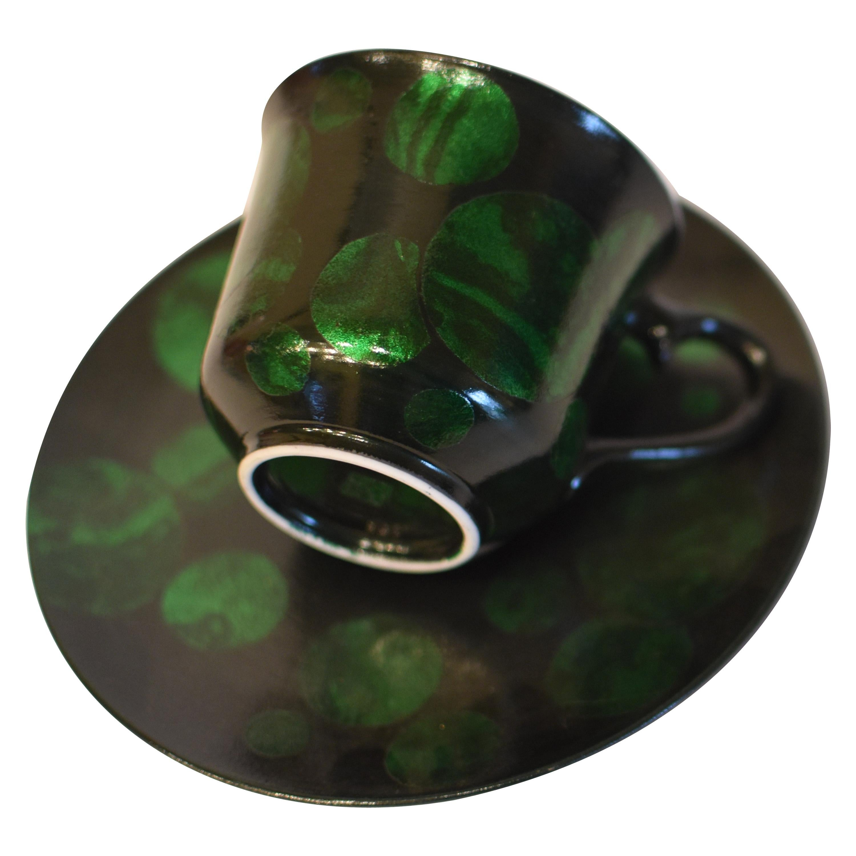 Japanese Silver Leaf Green Porcelain Cup and Saucer by Master Artist
