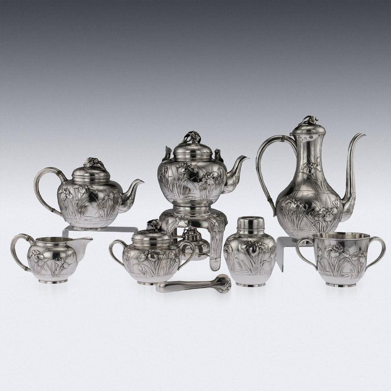 Japanese Silver Massive Tea & Coffee Service on Tray, circa 1900 In Good Condition For Sale In London, London