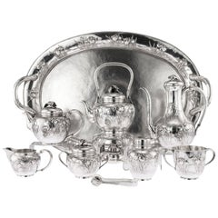Japanese Silver Massive Tea & Coffee Service on Tray, circa 1900