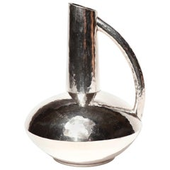 Japanese Silver Vase, a Handled Ewer Form by Seiho, 20th Century