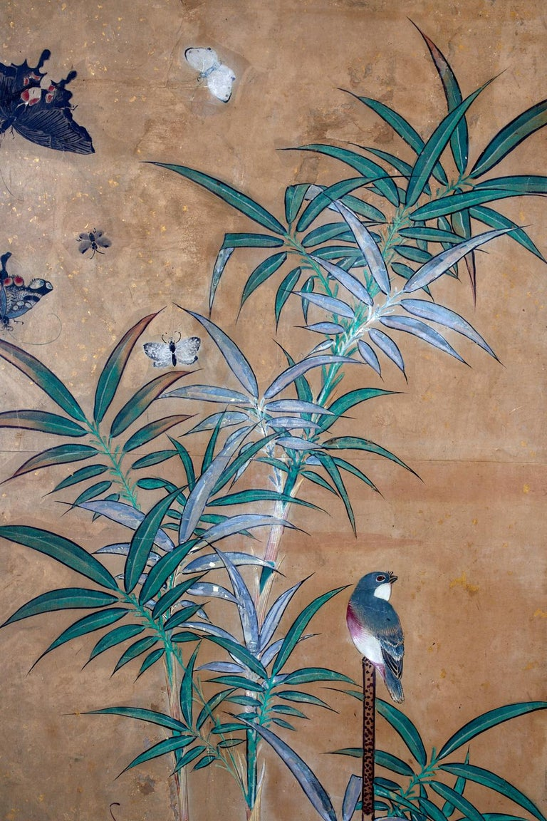 Japanese Six-Panel Edo Screen Flora Fauna Landscape For Sale 4