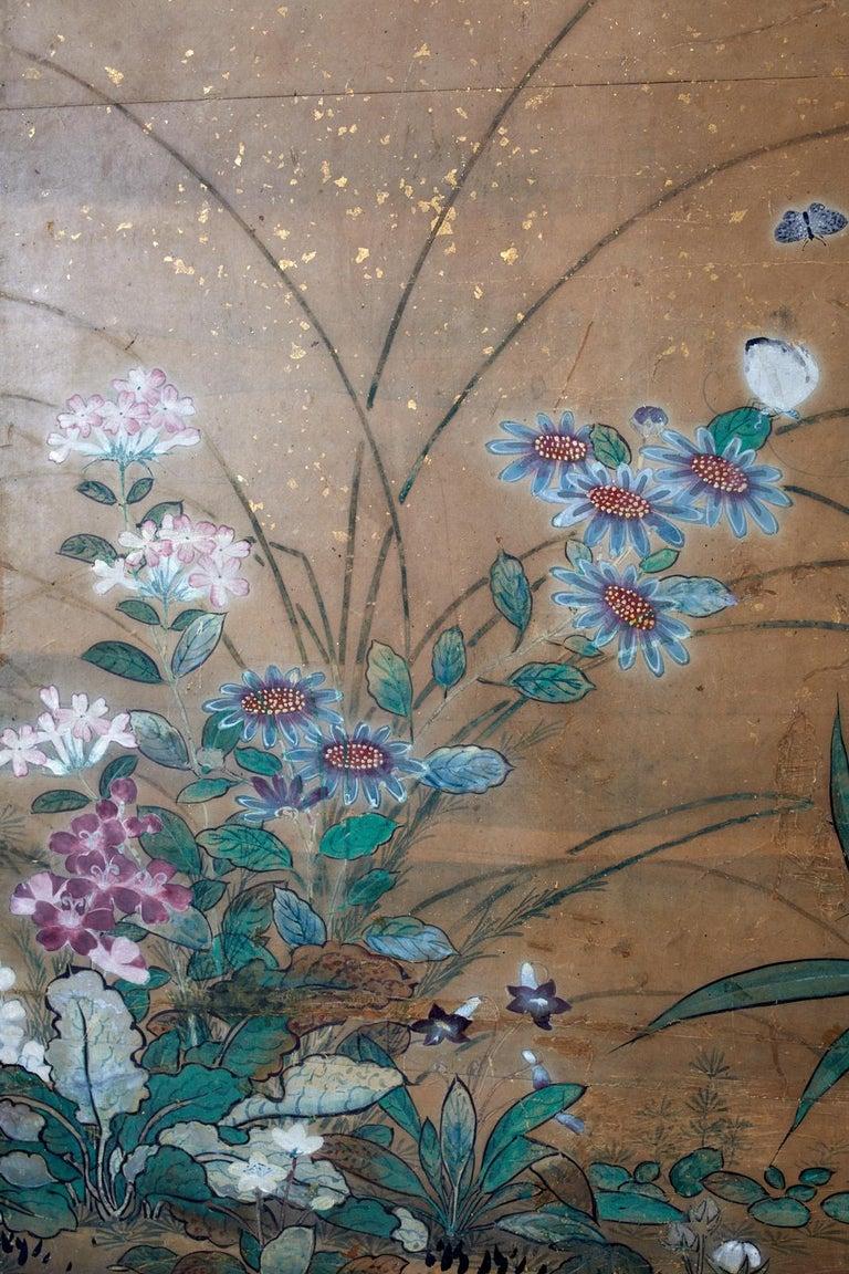Japanese Six-Panel Edo Screen Flora Fauna Landscape For Sale 5