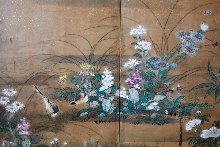 Japanese Six-Panel Edo Screen Flora Fauna Landscape For Sale 6