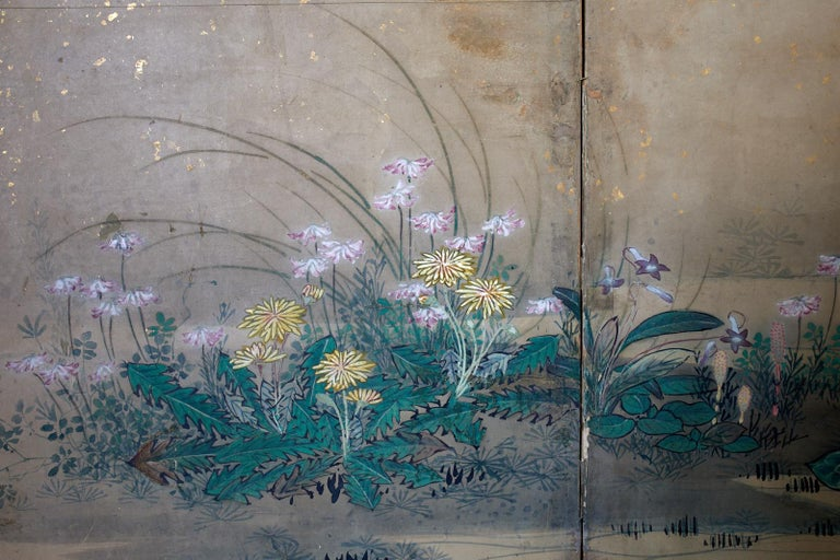 Japanese Six-Panel Edo Screen Flora Fauna Landscape For Sale 7