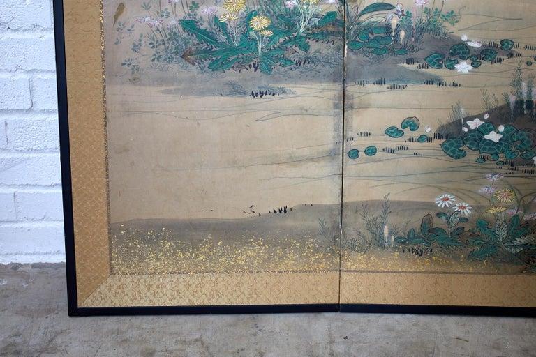 Japanese Six-Panel Edo Screen Flora Fauna Landscape For Sale 10