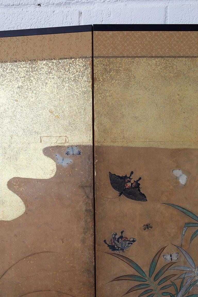 Japanese Six-Panel Edo Screen Flora Fauna Landscape For Sale 11