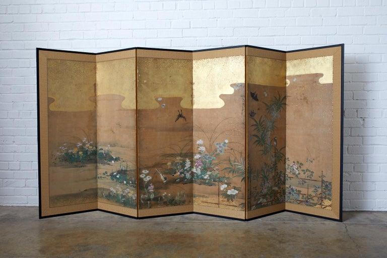 Japanese Six-Panel Edo Screen Flora Fauna Landscape For Sale 12