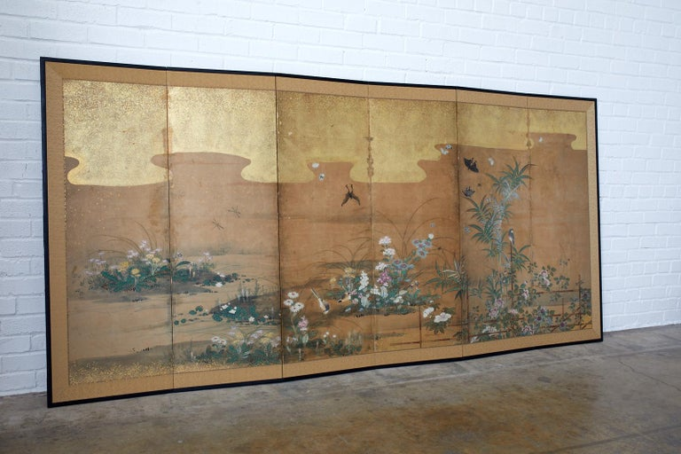 Hand-Crafted Japanese Six-Panel Edo Screen Flora Fauna Landscape For Sale