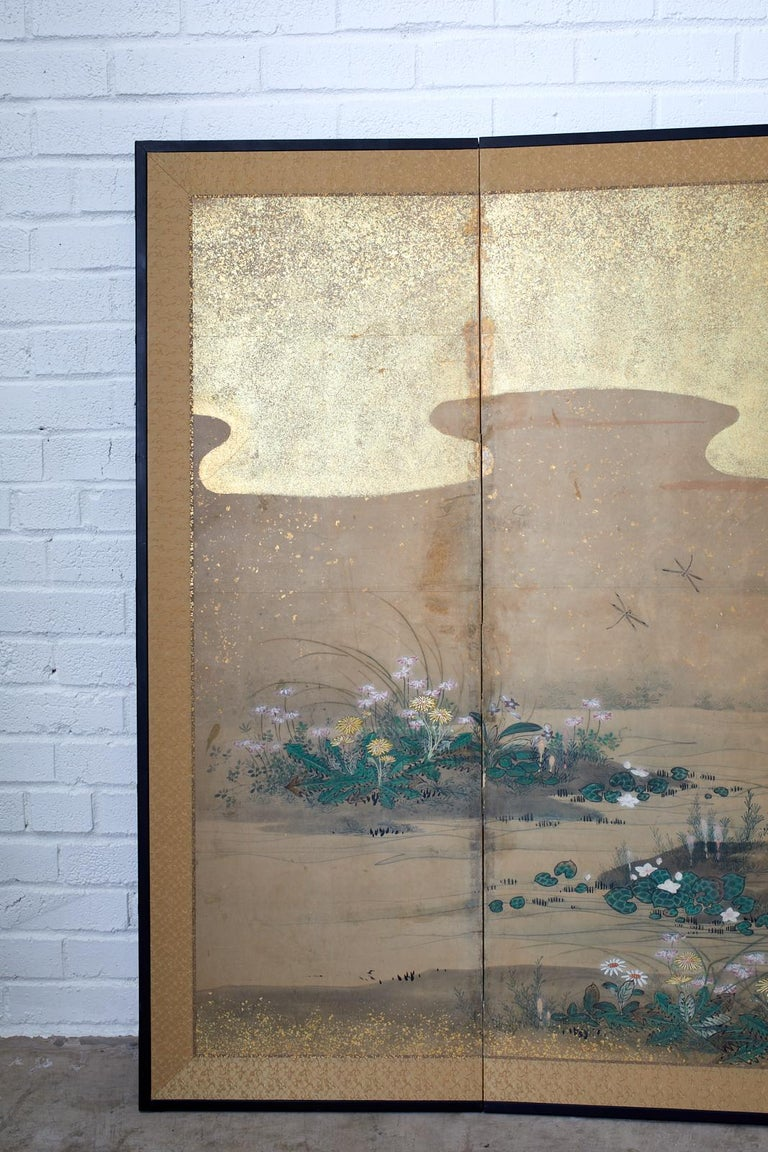 Japanese Six-Panel Edo Screen Flora Fauna Landscape In Good Condition For Sale In Oakland, CA