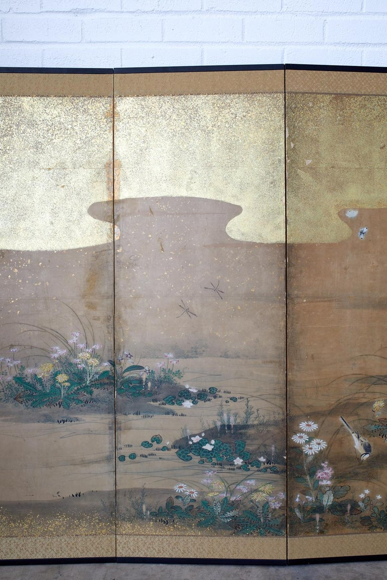 18th Century and Earlier Japanese Six-Panel Edo Screen Flora Fauna Landscape For Sale