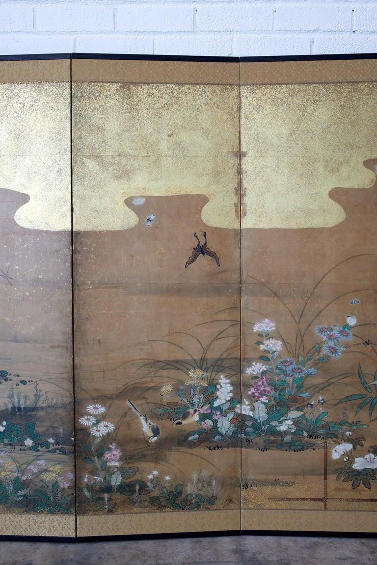 Wood Japanese Six-Panel Edo Screen Flora Fauna Landscape For Sale