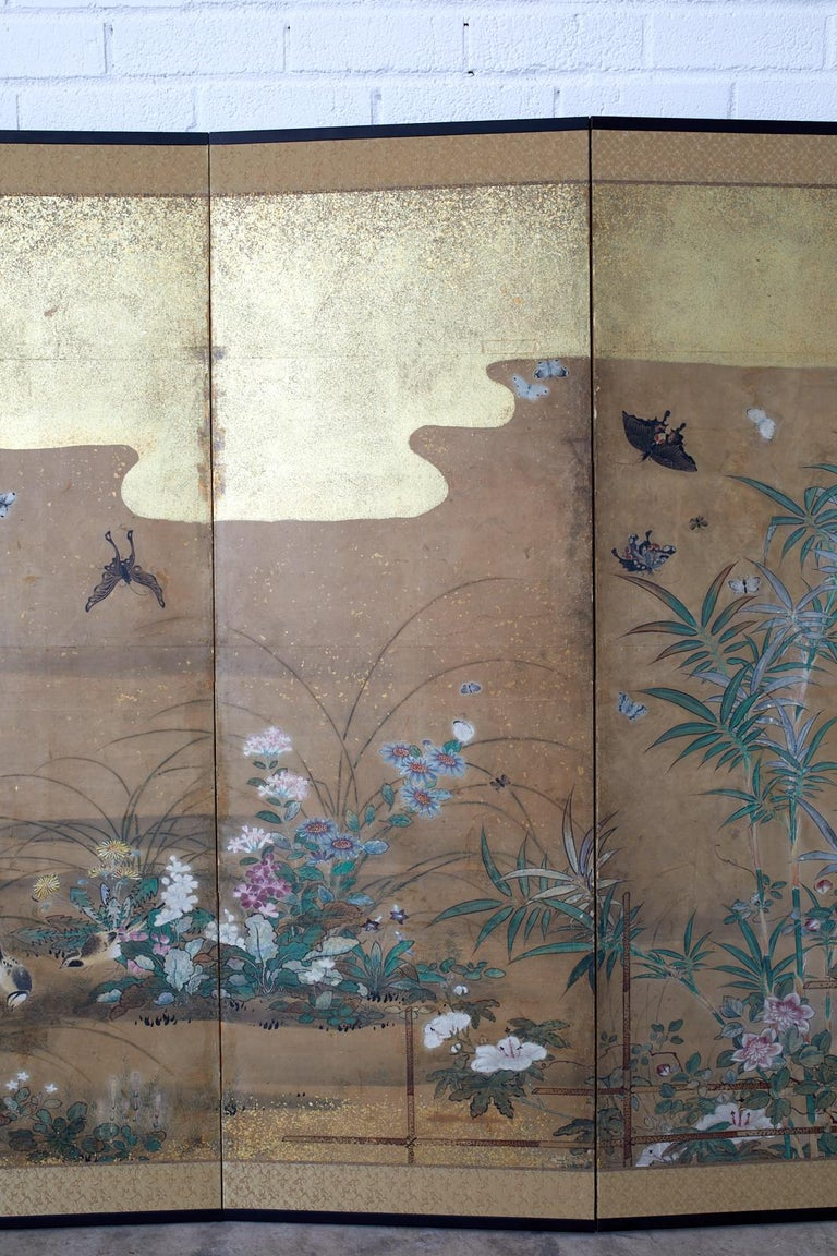 Japanese Six-Panel Edo Screen Flora Fauna Landscape For Sale 1