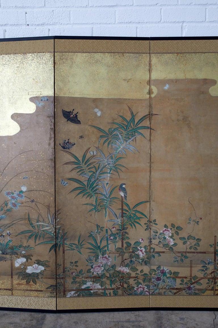 Japanese Six-Panel Edo Screen Flora Fauna Landscape For Sale 2