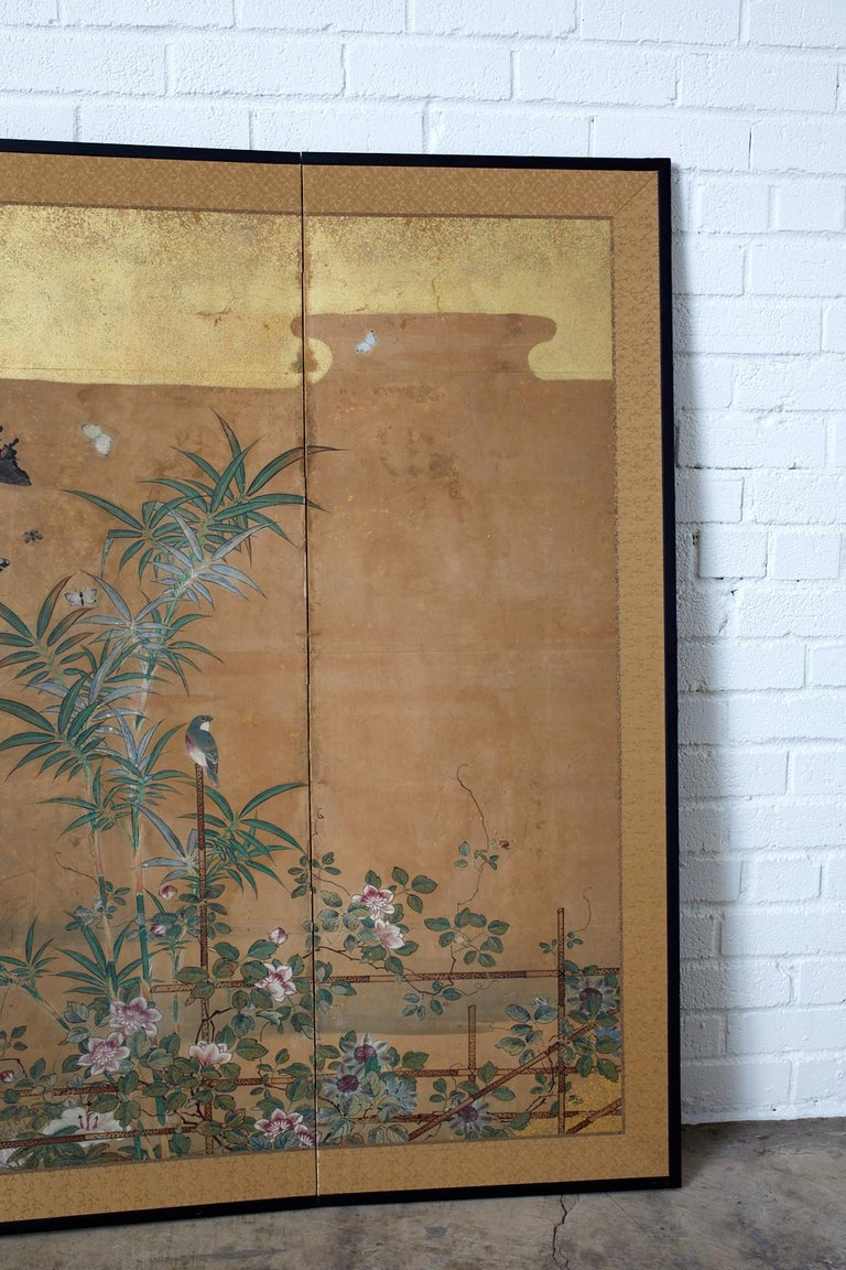 Japanese Six-Panel Edo Screen Flora Fauna Landscape For Sale 3