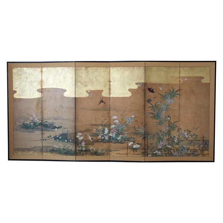 Japanese Six-Panel Edo Screen Flora Fauna Landscape For Sale