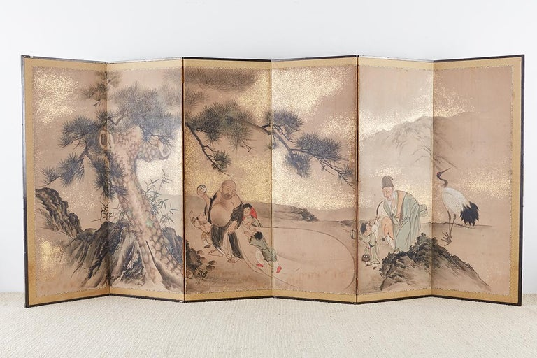 Japanese Six-Panel Edo Screen of Immortals with Children For Sale 5