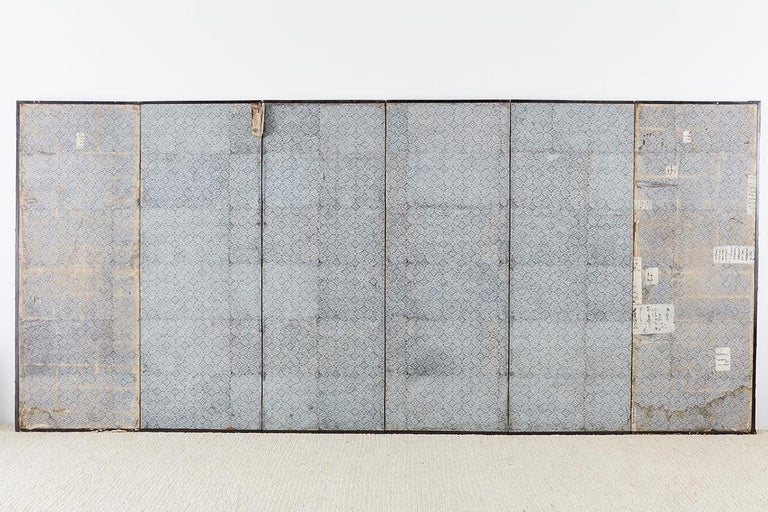Japanese Six-Panel Edo Screen of Immortals with Children For Sale 12