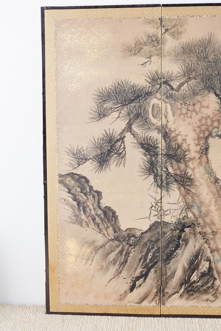 Etched Japanese Six-Panel Edo Screen of Immortals with Children For Sale