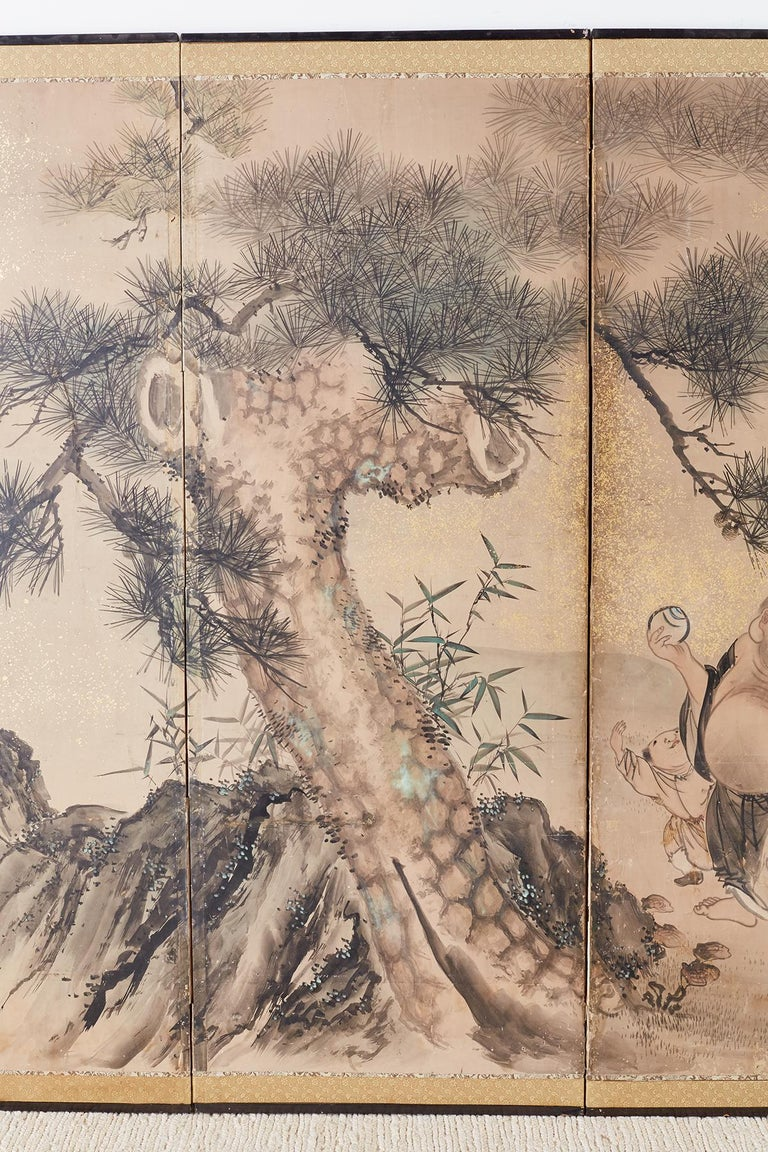 Japanese Six-Panel Edo Screen of Immortals with Children In Distressed Condition For Sale In Rio Vista, CA