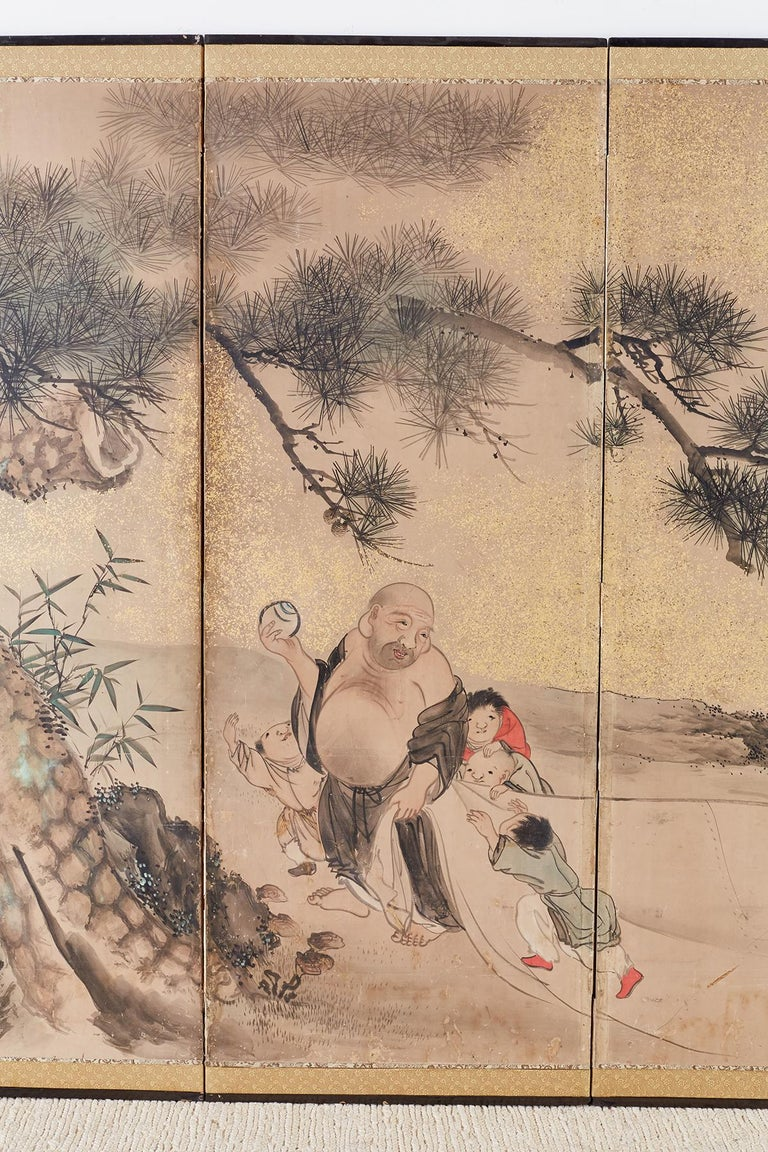 19th Century Japanese Six-Panel Edo Screen of Immortals with Children For Sale