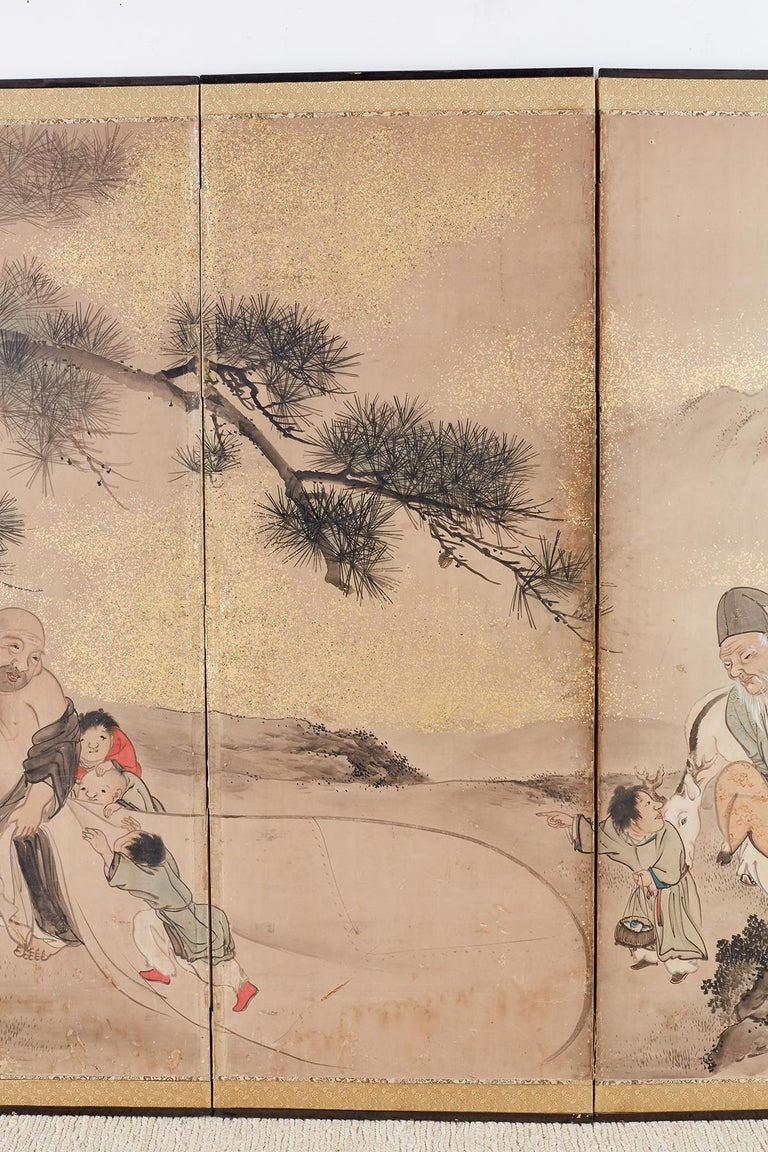 Brass Japanese Six-Panel Edo Screen of Immortals with Children For Sale