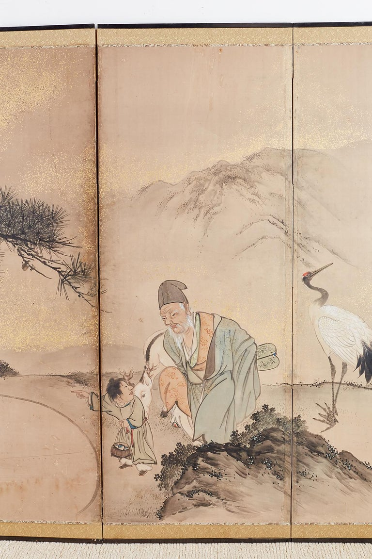 Japanese Six-Panel Edo Screen of Immortals with Children For Sale 1