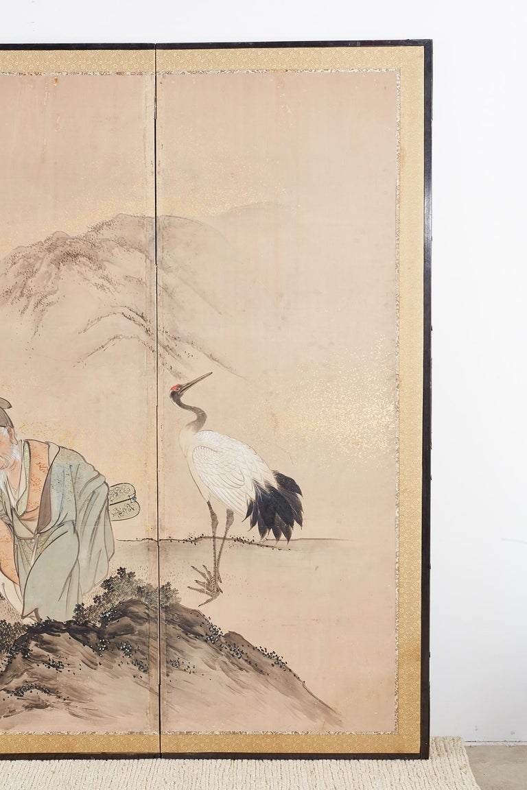Japanese Six-Panel Edo Screen of Immortals with Children For Sale 2