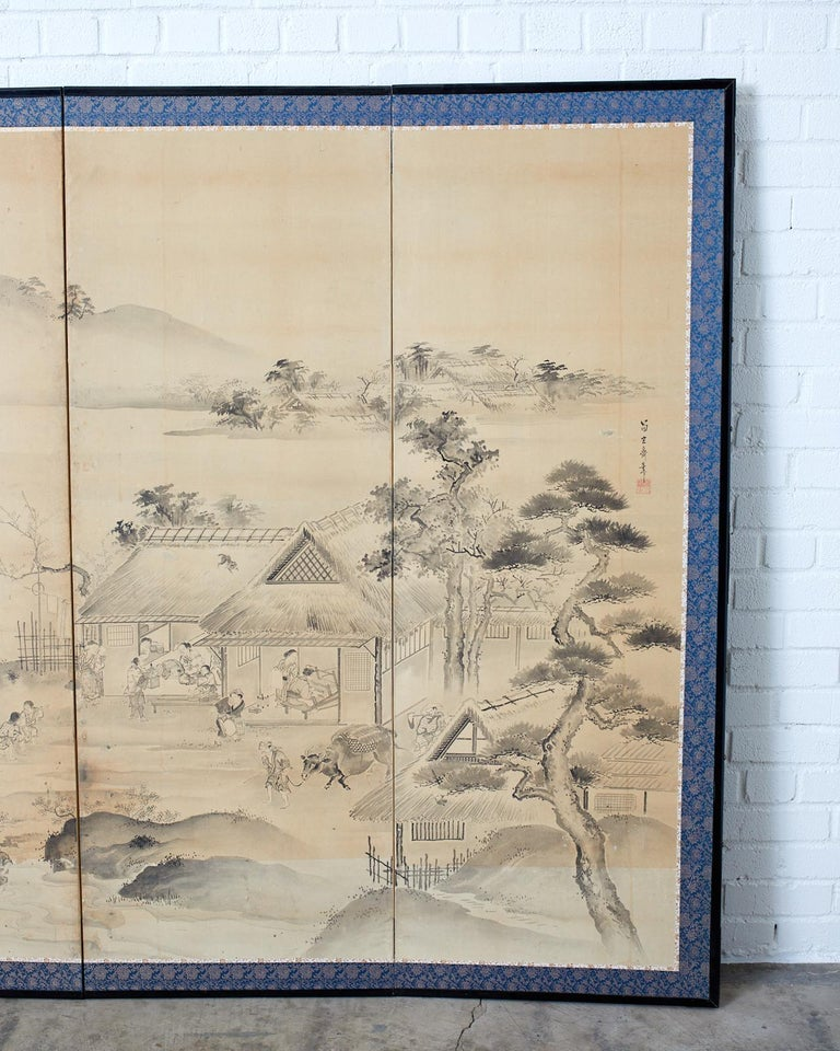 Japanese Six Panel Edo Screen Village Farming Landscape For Sale 4