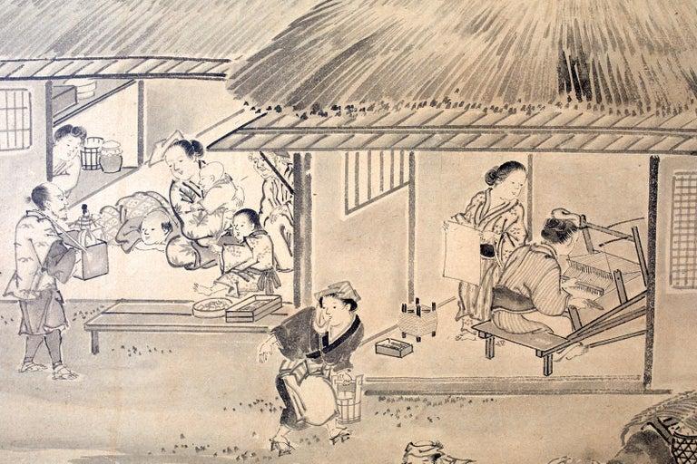 Japanese Six Panel Edo Screen Village Farming Landscape For Sale 6