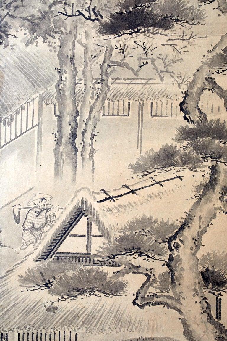 Japanese Six Panel Edo Screen Village Farming Landscape For Sale 7