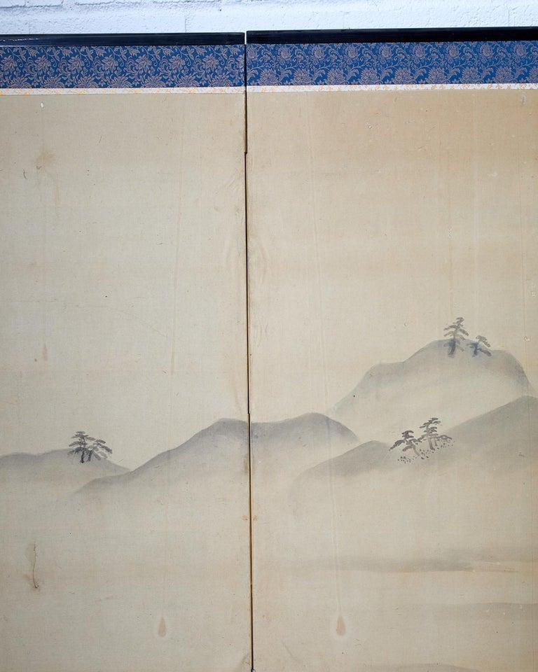 Japanese Six Panel Edo Screen Village Farming Landscape For Sale 10
