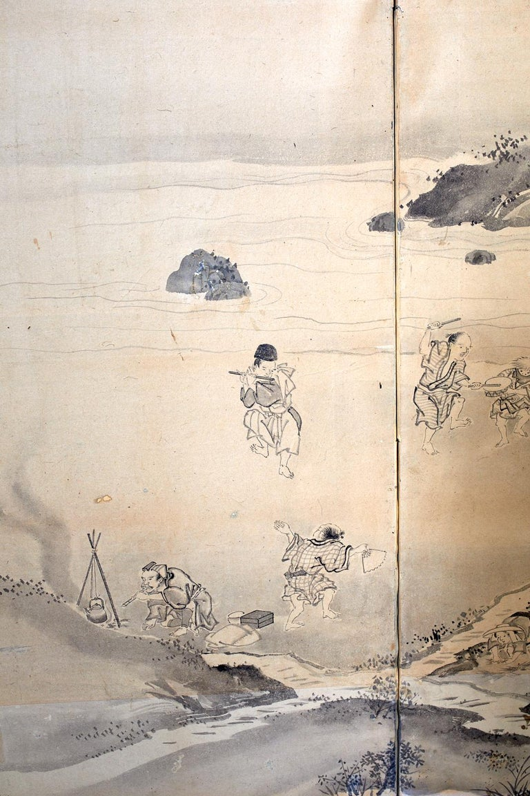 Japanese Six Panel Edo Screen Village Farming Landscape For Sale 11