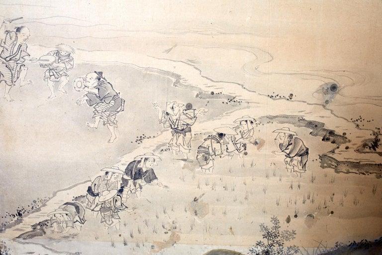 Japanese Six Panel Edo Screen Village Farming Landscape For Sale 12