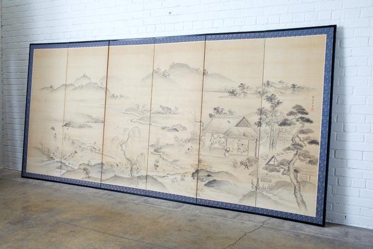Ebonized Japanese Six Panel Edo Screen Village Farming Landscape For Sale