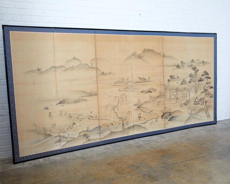 Japanese Six Panel Edo Screen Village Farming Landscape In Good Condition For Sale In Rio Vista, CA